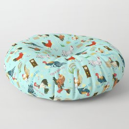 Cute seamless roosters pattern cartoon Floor Pillow