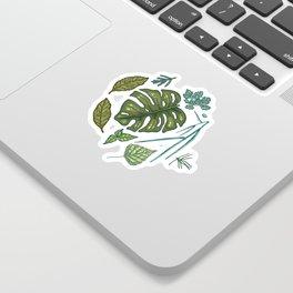 Green leaves pattern Sticker