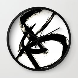 Brushstroke 3 - a simple black and white ink design Wall Clock