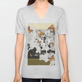 Hydrangea And Butterflies in Frame #decor #society6 Unisex V-Neck