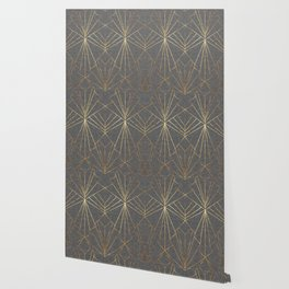 Art Deco in Gold & Grey - Large Scale Wallpaper