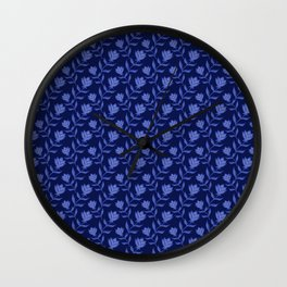 Elegant classy delicate distressed light blooming roses flowers pattern. Dark navy botanical floral. Wall Clock