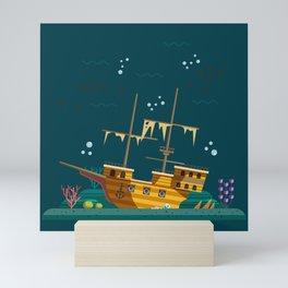The galleon wreck Mini Art Print