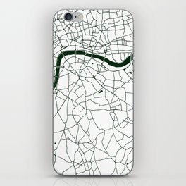 London White on Green Street Map iPhone Skin