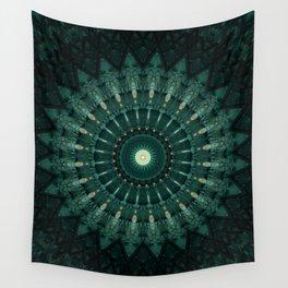 Malachite green mandala Wall Tapestry