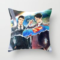heroes Throw Pillows featuring Heroes by Hai-ning