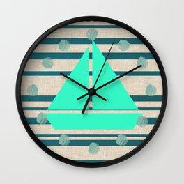 Sea U Boats & Stripes Wall Clock