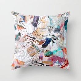 Abstract colourful collage Throw Pillow