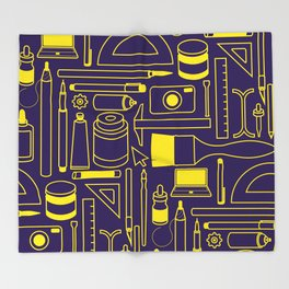 Art Supplies - Eggplant and Yellow Throw Blanket