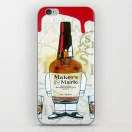 Bourbon Makers Mark cartoon illustration original painting print iPhone Skin