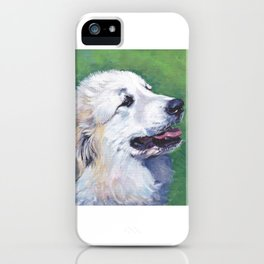 Great Pyrenees dog portrait art from an original painting by L.A.Shepard iPhone Case