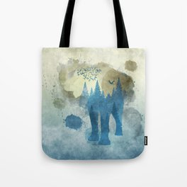 Elephant Double Exposure Abstract Tote Bag
