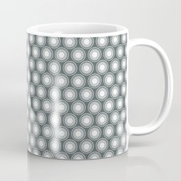 White Polka Dots and Circles Pattern on PPG Night Watch Pewter Green Coffee Mug