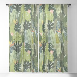 Green On Pattern Sheer Curtain