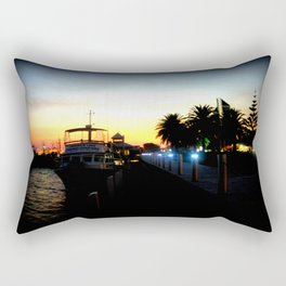 Night lights as Dusk settles over the Esplanade in Lakes Entrance - Australia Rectangular Pillow