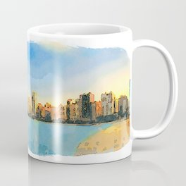 Watercolor Painting - Chicago Skyline At Sunset Viewed From North Avenue Beach by Miroslav Liska Edi Coffee Mug