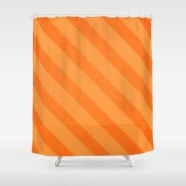 Vintage Candy Stripe Tangerine Orange Grunge Shower Curtain
