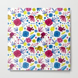 Bright and Beautiful Watercolor Floral Print - Pink Blue and Yellow Metal Print