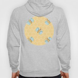 Cute Little Bees Pattern on Honeycomb Background Hoody