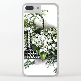 Vintage Lily of the Valley Flower Basket Clear iPhone Case