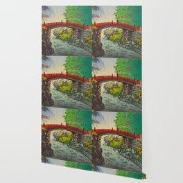Vintage Japanese Woodblock Print Garden Red Bridge River Rapids Beautiful Green Forest Landscape Wallpaper