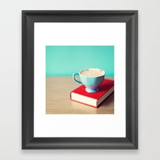 Red book and coffee Framed Art Print