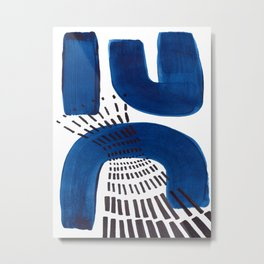 Abstract Expressionism Mid Century Modern Acrylic Painting Minimalist Art Navy Blue Black Line Patte Metal Print