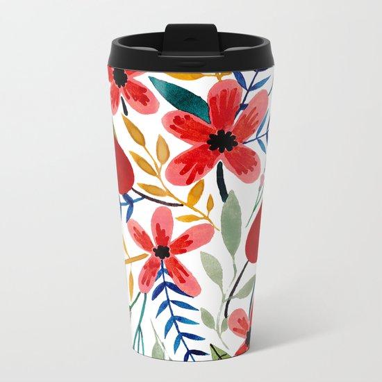 Flower Bouquet Metal Travel Mug