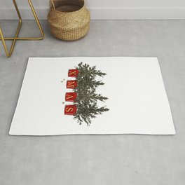 Merry Christmas tree pods Rug
