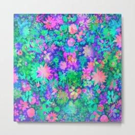 Fluro Floral Metal Print