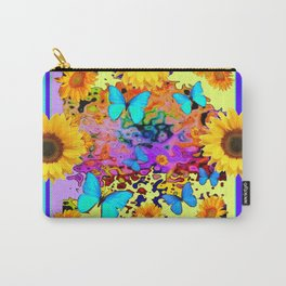 Blue Design Sunflower Butterflies Dream Carry-All Pouch