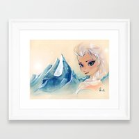 frozen elsa Framed Art Prints featuring Frozen - Elsa by kleinmeli