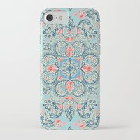 bedding iPhone & iPod Cases featuring Gypsy Floral in Red & Blue by micklyn