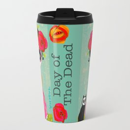 Day Of The Dead Frida with Black Cat Travel Mug