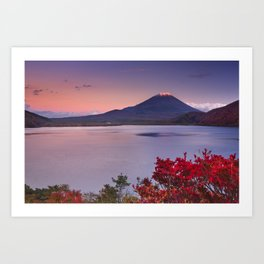 I - Last light on Mount Fuji and Lake Motosu, Japan Art Print