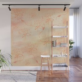 Spring Line Art Flowers Wall Mural