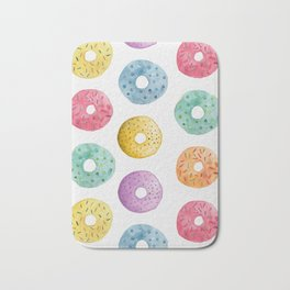 Watercolor Donut Pattern Bath Mat
