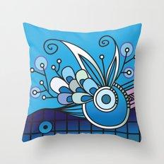 Ornate square zentangle, Ultramarine Blue Throw Pillow