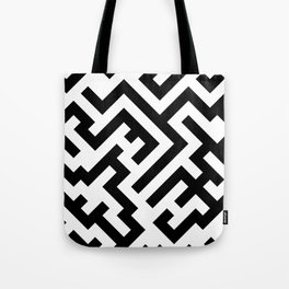 Black and White Diagonal Labyrinth Tote Bag