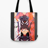 evangelion Tote Bags featuring Evangelion Kids by minthues