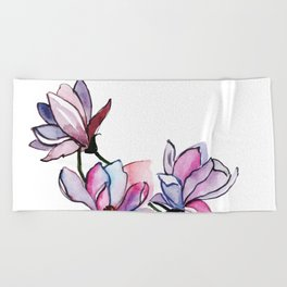 Watercolor Spring Floral and Leaves Collection Beach Towel