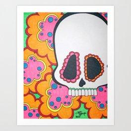 Funky Skull with Flowers Art Print