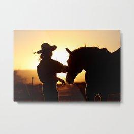 Cowboy and his Horse Metal Print