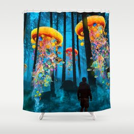 Electric Jellyfish Worlds in a New Blue Forest Shower Curtain