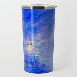 The Teapot Village - Blue Japanese Lighthouse Village Artwork Travel Mug