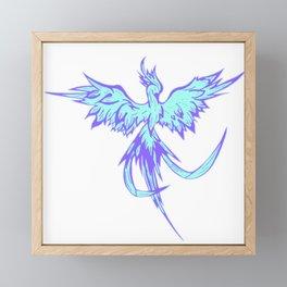 Phoenix blue, firebird, fantasy Framed Mini Art Print