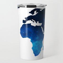 World Map Space Planet Blue Travel Mug