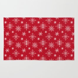 Snowflakes on Christmas red Rug