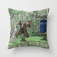 hallion Throw Pillows featuring Visions are Seldom all They Seem by Karen Hallion Illustrations