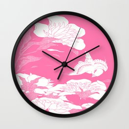 JaPanese Flowers. Pink Wall Clock